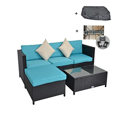 Amazon Com Patio Furniture Clearance Outdoor Sectional Sofa Black