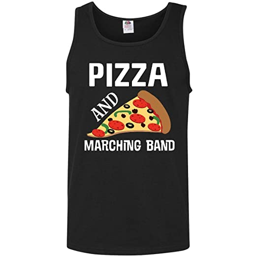 32b61a07 inktastic - Funny Marching Band and Pizza Gift Men's Tank Top Medium Black  2c874