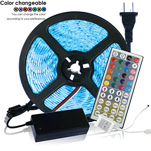INIEIWO 5-Meter Waterproof Flexible Color Changing RGB SMD5050 300 LEDs Light Strip Kit with 44 Key Remote and 12V 5A Power Supply