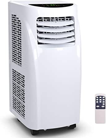 COSTWAY 10000 BTU Air Conditioner, Portable Air Conditioner Unit with Remote Control Dehumidifier Function Window Wall Mount, 4 Caster Wheel, Sleep Mode and 2 Fan Speed