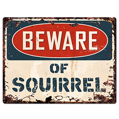 Beware of SQUIRREL Chic Sign Vintage Retro Rustic
