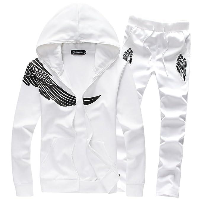 f7aea6cdddb Manluo Men s Hoodies Suits Printing Leisure Sports Suit Track Jogging Slim  Fit Sweatshirt at Amazon Men s Clothing store