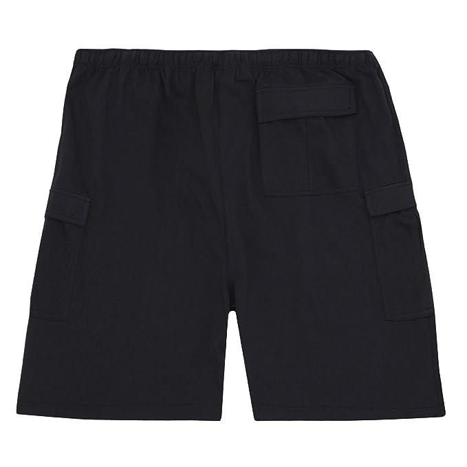 Mens Cargo Jersey Shorts Soft Elastic Waist Pocket Big Tall Sizes 3XL-5XL