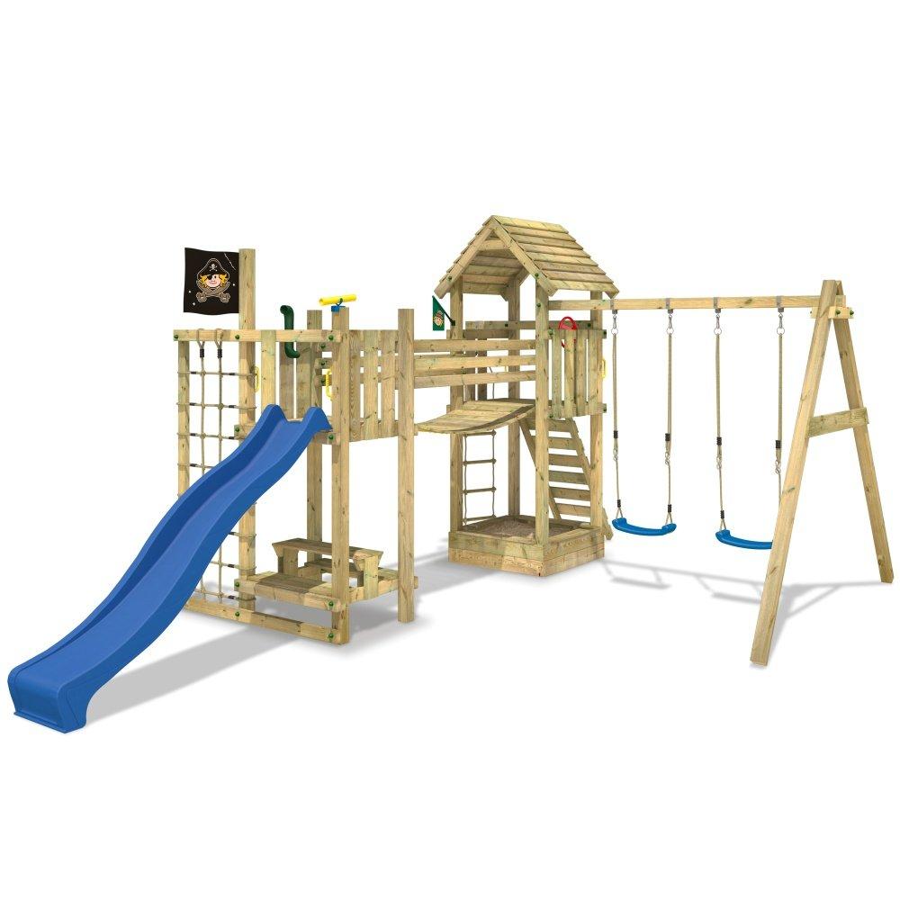 WICKEY Stelzenhaus Hillbilly's Farm Spielburg Spielturm mit Schaukel, Rutsche, Brücke und viel Spiel-Zubehör, blaue Rutsche + blaue Schaukelsitze