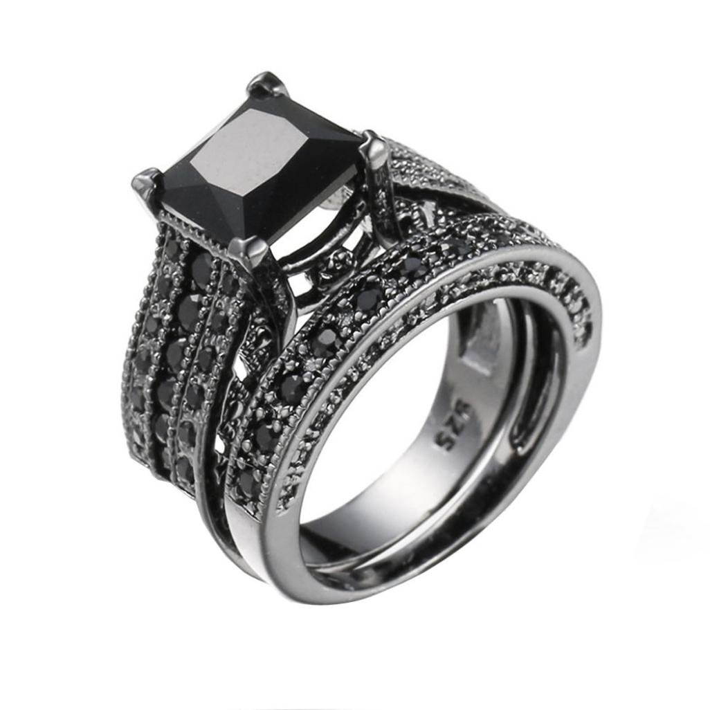 Vintage Rings ODGear 2-in-1 Girls Black Diamond Silver Engagement Wedding Band Ring Set,Lockets for Girls (US 8, Black)