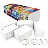 """DEBRADALE DESIGNS 1,100 Small Blank Study Flash Cards - 110# White Smooth Index - Single Hole Punched with 5 Metal Binder Rings - 2"""" x 3-1/2"""". Best For Learning Languages"""