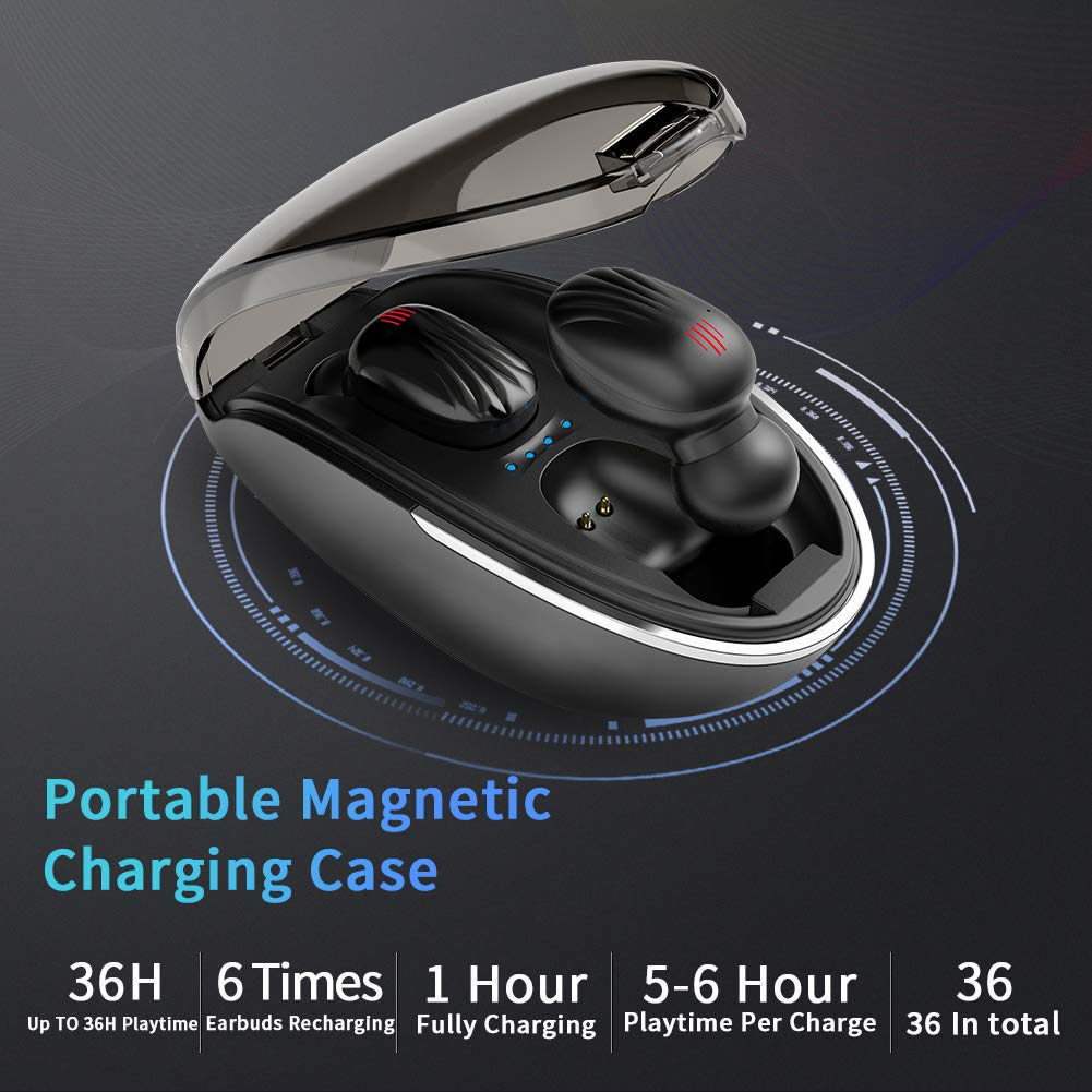 Wireless Earbuds, TWS Bluetooth 5.0 Wireless Headphones Auto Pairing【Wireless Charging Case】 IPX7 Waterproof Bluetooth Earbuds Built-in Mic 3D in-Ear Earbuds with Deep Bass Stereo for Running Sport by CTLYF (Image #6)
