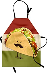 Ambesonne Food Apron, Mexican Taco with Mustached Face Rolled with Veggies Humor Comic Childish Art, Unisex Kitchen Bib with Adjustable Neck for Cooking Gardening, Adult Size, Paprika Green