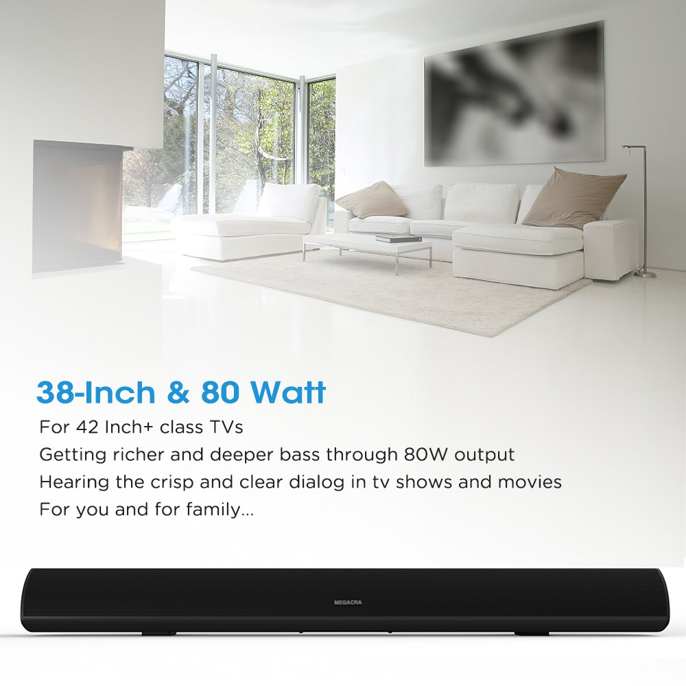 MEGACRA UP-S9920 Sound Bar, Bluetooth Soundbar 40 Inch Home Theater System TV Speaker (100 Watt, for 42+