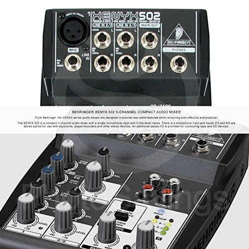 Behringer XENYX 502 5-Channel Audio Mixer and Platinum Bundle w/Stereo Headphones, Home Recording for Musicians for Dummies, 5X Cables, and Fibertique Cloth by Photo Savings (Image #1)