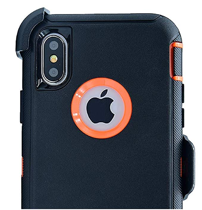quality design afb7a 27139 OtterBox Defender Case for iPhone XR with Belt Clip Holster fits OtterBox  with Tempered Glass Screen Protector - Black Orange
