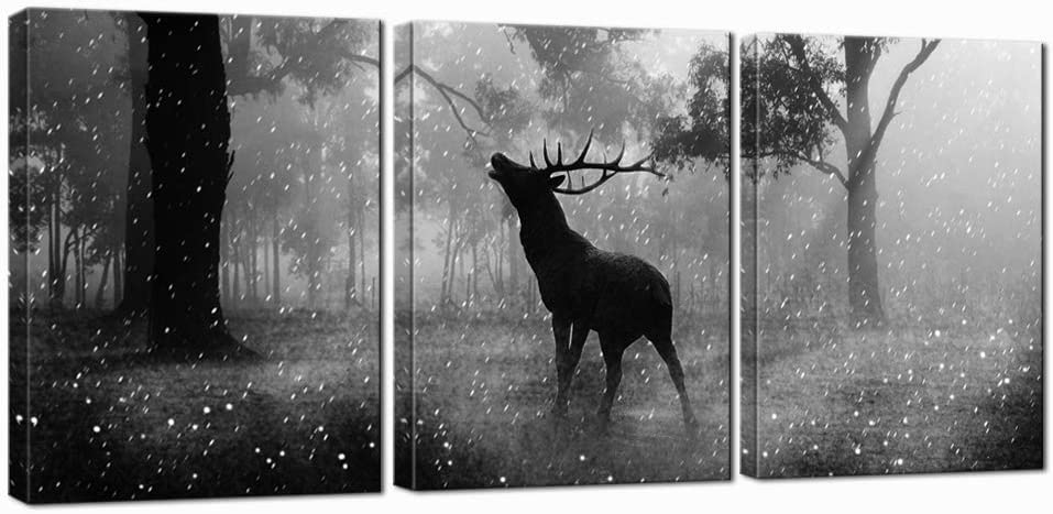 Nachic Wall 3 Piece Animal Picture Black and White Deer in Forest Painting Wall Art Elk Artwork with Wooden Frame for Home Living Room Bedroom Decor Wall Decoration