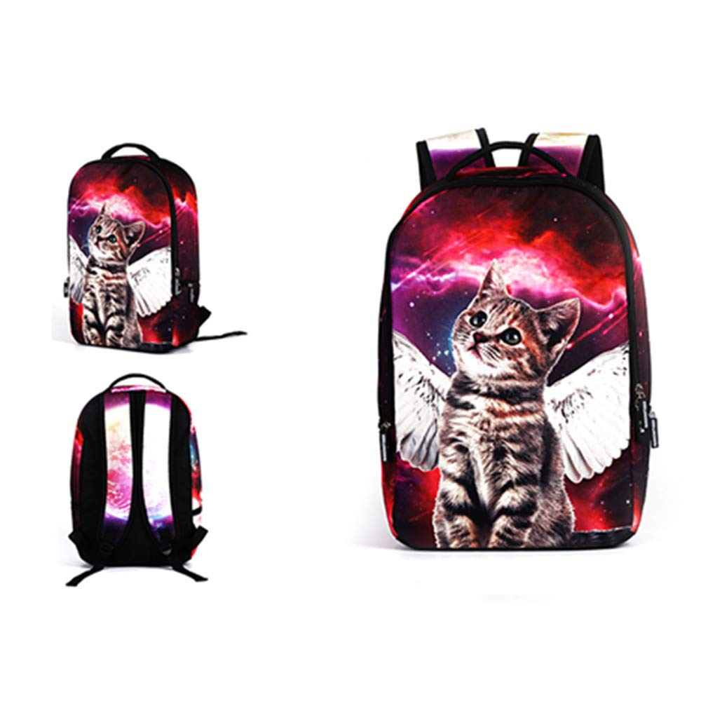 MIYA LTD 3D Cartoon Backpacks Boys,Unisex Fashion Rucksack Laptop Travel Bag Glowing College Bookbag Children's Schoolbag Teenager's Cute Backpack 3D Galaxy Print - Red Cat