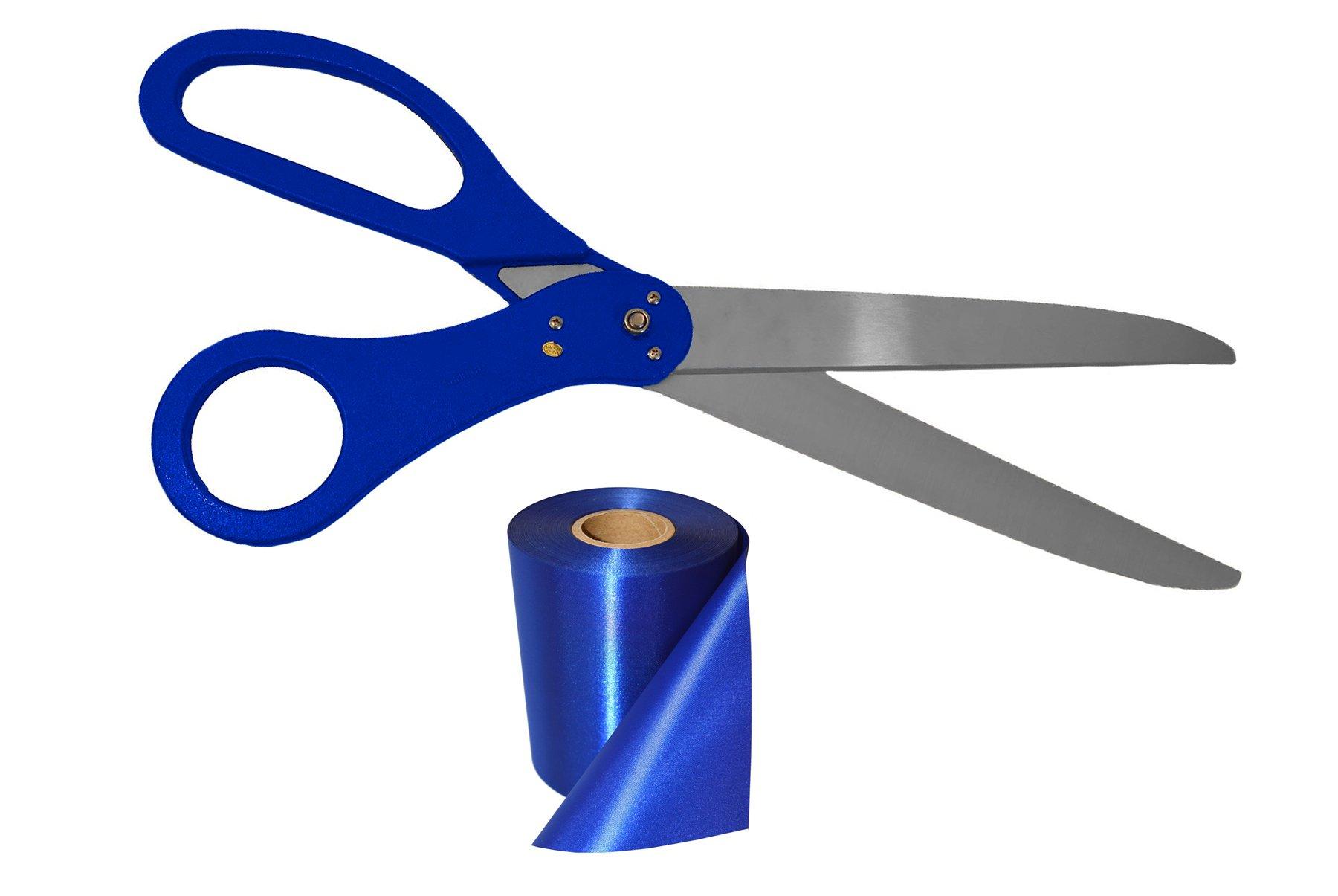 25 Inch Long Blue Handle Ribbon Cutting Scissors & Blue Ribbon 25 Yard Long X 4 Inch Wide by Wonder Costumes