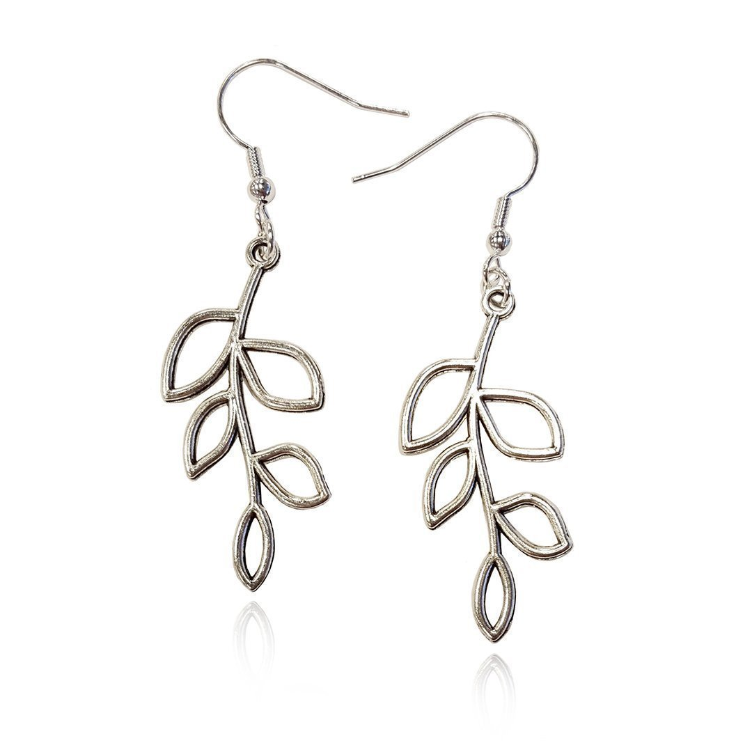 Silver Tone Olive Tree Branch Leaf Earrings, Handmade Fishhook Dangle Womens Earring Set