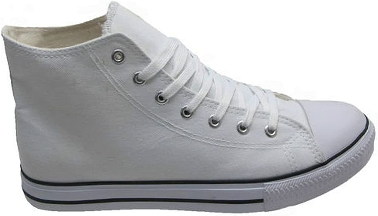 Girls Boys Grey Canvas Lace Up High Top Trainers Baseball Pumps Boots UK 1-5