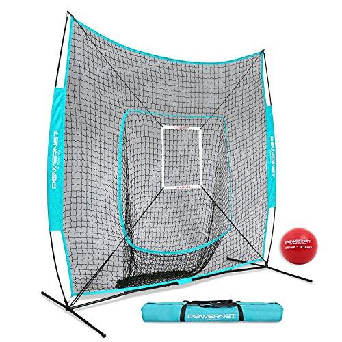 Powernet Dlx 7X7 Baseball Softball Hitting Net   Weighted Heavy Ball   Strike Zone Bundle  Sky Blue    Training Set   Practice Equipment Batting Soft Toss Pitching   Team Color   Portable Backstop