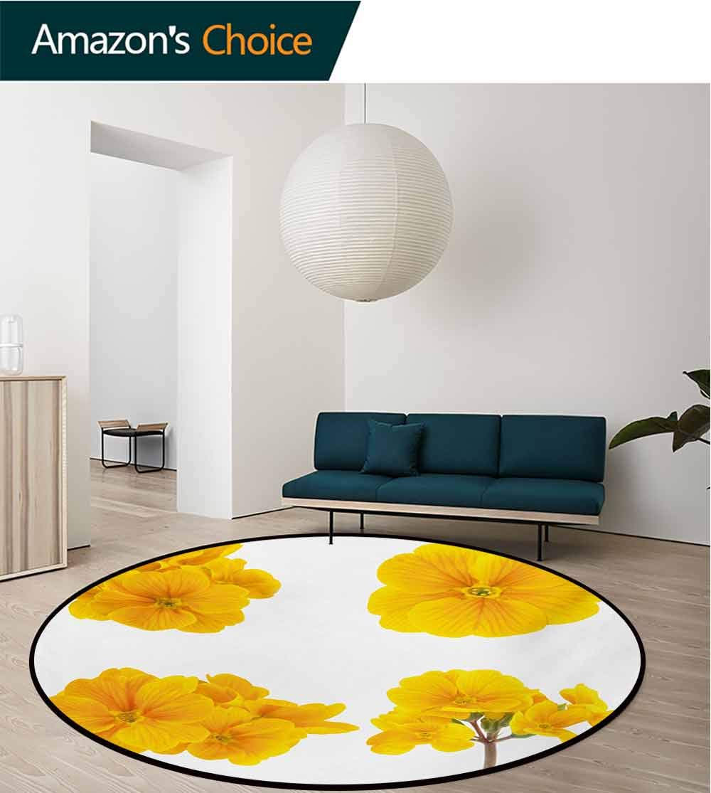 RUGSMAT Yellow Flower Super Soft Circle Rugs for Girls,Gardening Themed Collection with Little Tender Primrose Primula Blossoms Baby Room Decor Round Carpets,Diameter-59 Inch Mustard White