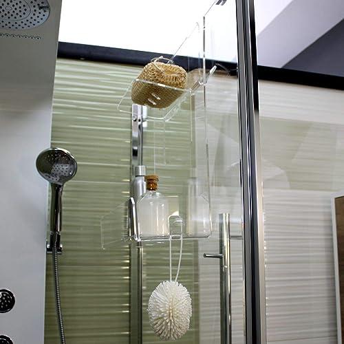 Accessori Portasapone Per Doccia.Portasapone Doccia In Plexiglass Con 2 Porta Asciugamani Mensola Per Doccia Amazon It Handmade