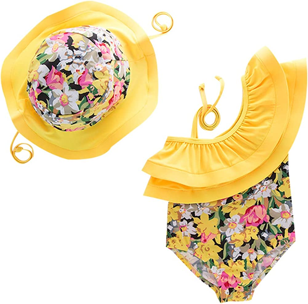 Achiyi Baby Toddler Girls One Piece Swimwear Bathing Suit Ruffled One Shoulder Swimsuits Yellow Floral Swimming Outfit UPF50+