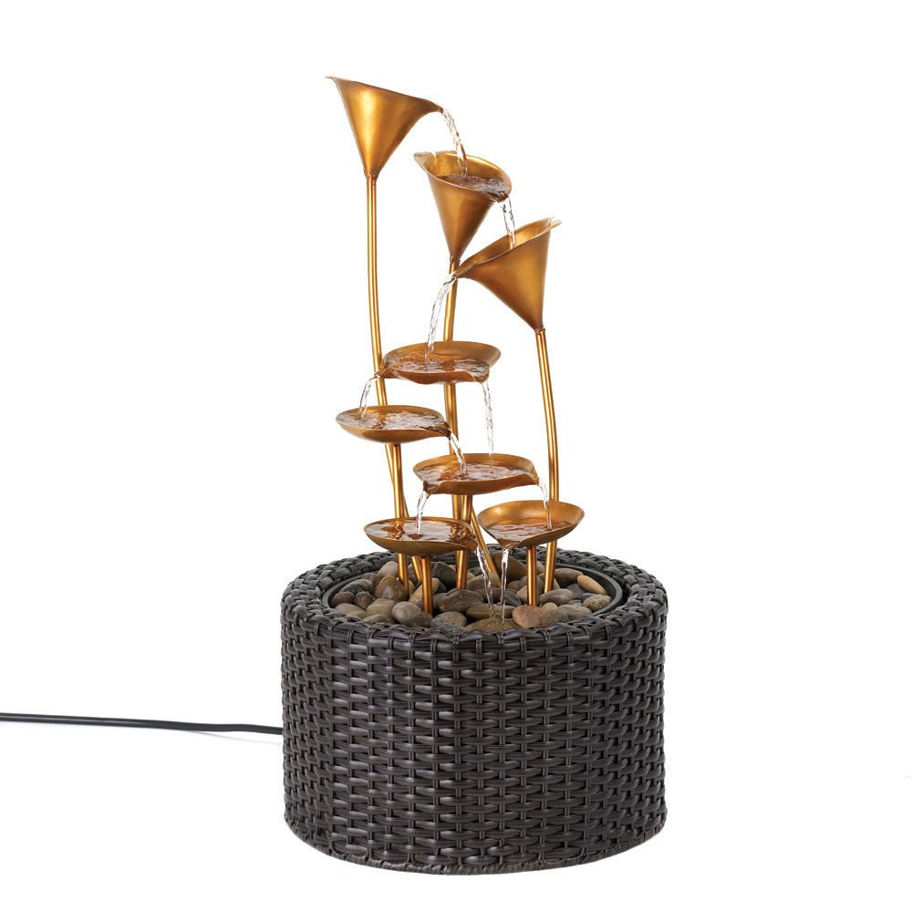 GHP Iron and Plastic Rattan-Like Woven Base Golden Water Lily Fountain