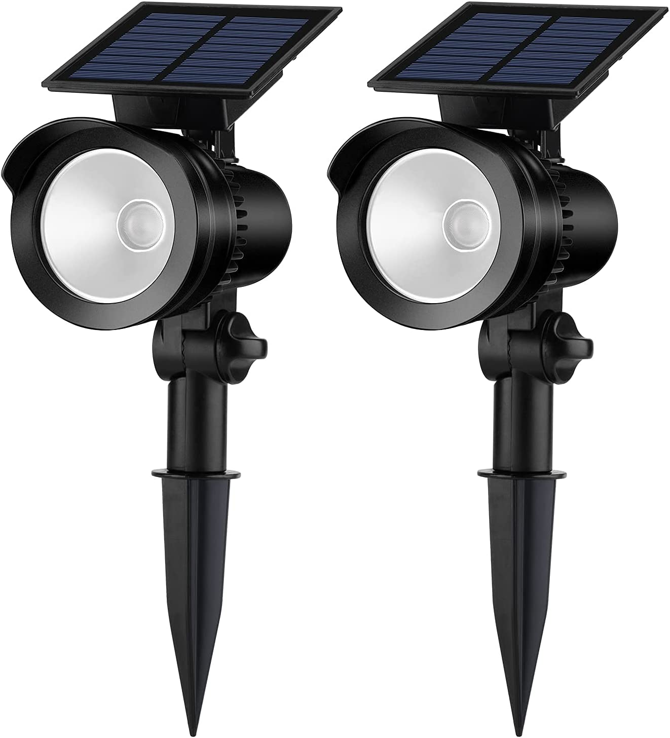 Brightown Solar Spot Lights Outdoor Spotlight with 360 Degree Rotation Panel Landscape Pathway Stake Solar Garden Lights Waterproof for Flag Pole Patio Yard Tree Patio Porch Path Warm White 2 Pack