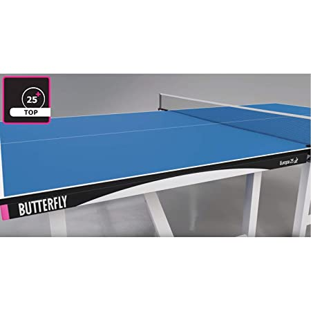 Butterfly Europa 25 Table Tennis Table 1 Inch Thick Top ITTF Approved for Ping Pong Tournaments 5 Year Warranty Professional Ping Pong Table
