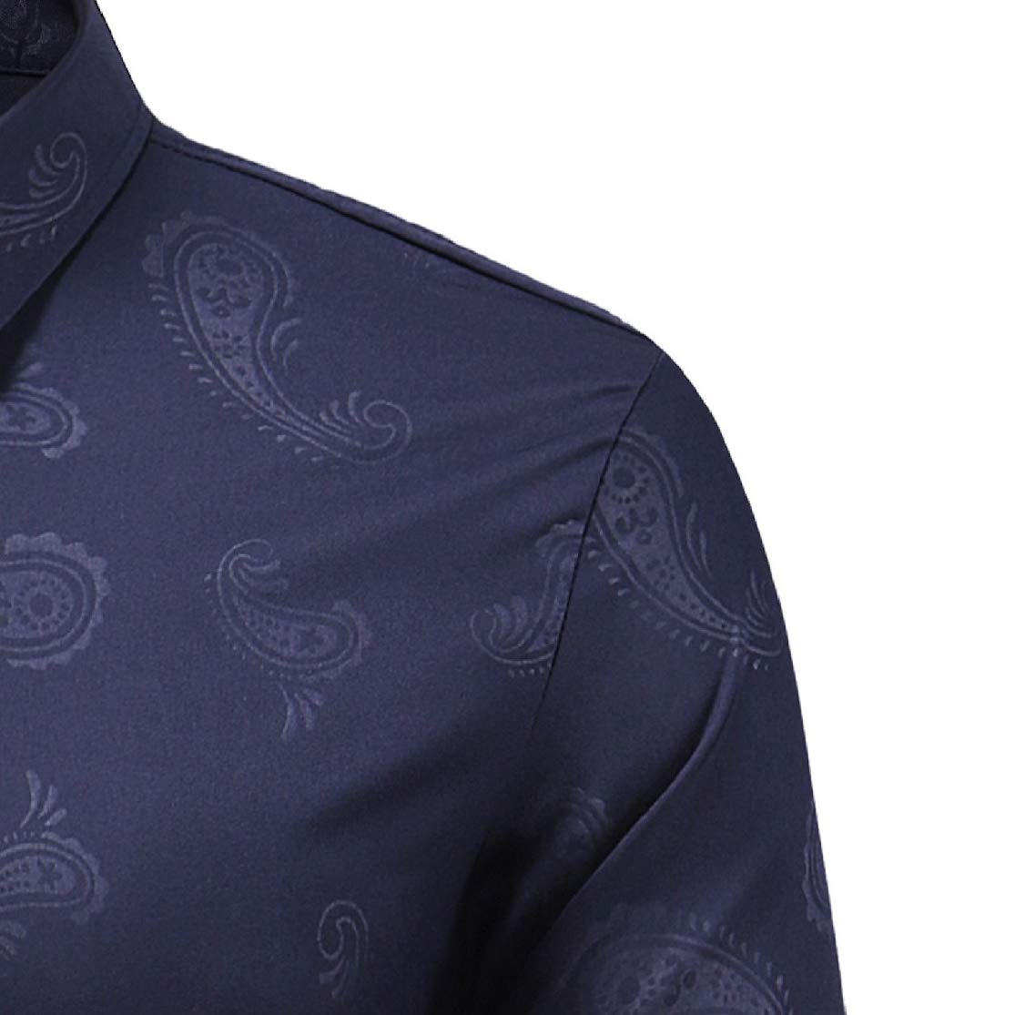 Colourful Mens Lapel Collar Dark Bands Open Front Long Sleeve Casual Dress Shirt