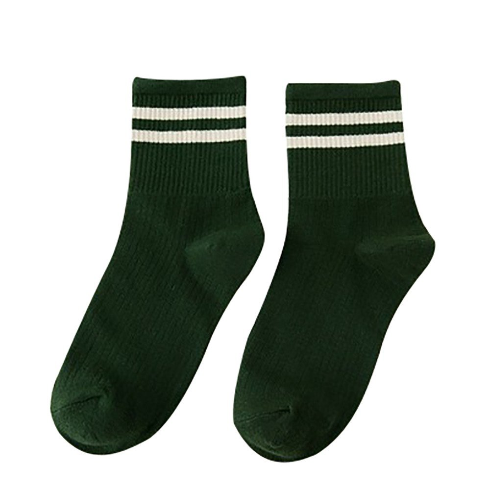 Womens Stripe Casual Cotton Crew Socks Vintage College Style Stretchy Novelty Ankle Socks MultiColor (M, Green)