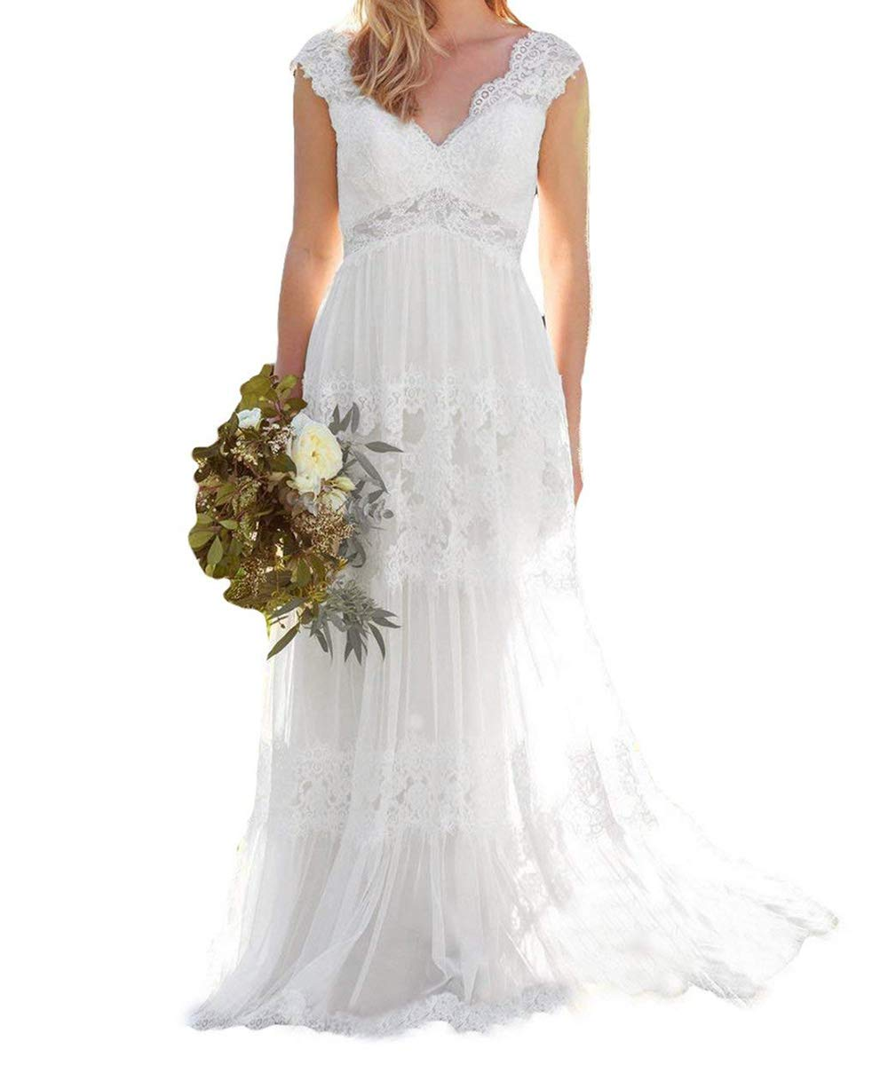 Fitty Lell Womens Vintage V Neck Wedding Dresses Long Sleeves Lace Bridal Gowns