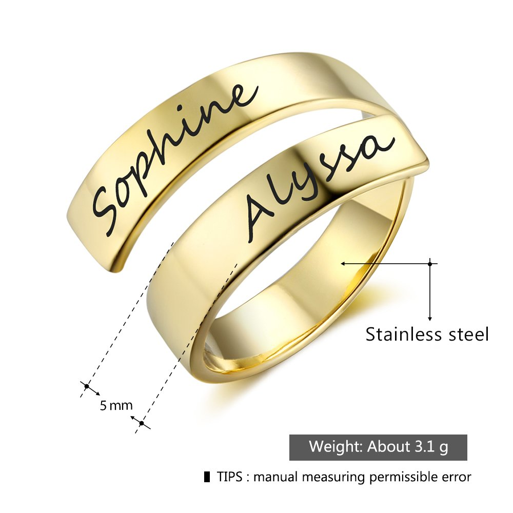 Love Jewelry Personalized Spiral Twist Ring Engraved Names BFF Personalized Gift Mother-Daughter Promise Ring Her (Gold) by Love Jewelry (Image #3)