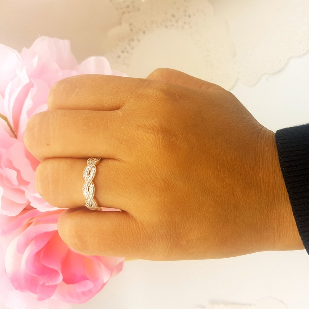 0.60 Carat (ctw) 10K Rose Gold Round Cubic Zirconia Ladies Bridal Wedding Band Swirl Ring (Size 8) by DazzlingRock Collection (Image #5)