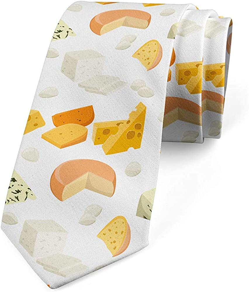 Mathillda Corbata para hombres, sabrosos productos lácteos frescos, amarillo tierra multicolor