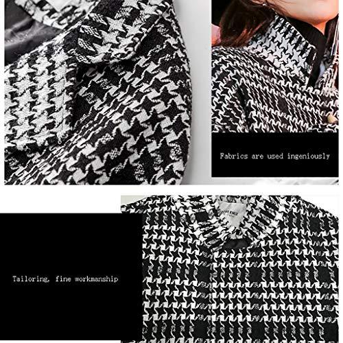 De Mujer Abrigo Cuadrícula Collar Moda Blanco Negro Caliente Cintura 8wT7tqA