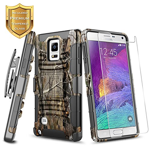 (Galaxy Note 4 Case with Tempered Glass Screen Protector, NageBee Belt Clip Holster Built-in Kickstand Full-Body Shockproof Armor Heavy Duty Rugged Durable Case for Samsung Galaxy Note 4 -Camo)