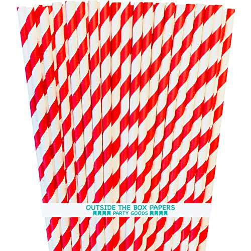 Red and White Striped Paper Straws - 7.75 Inches - Pack of 100 - Outside the Box Papers Brand -