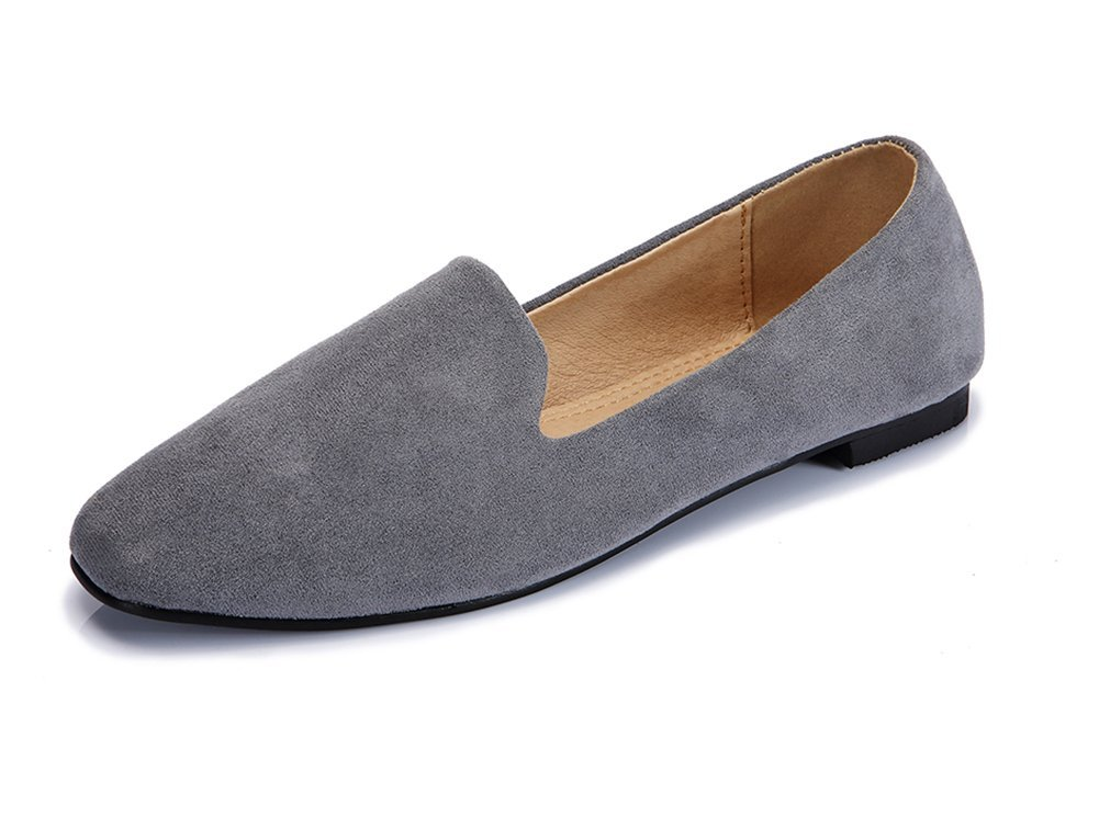 Ballet Flats Women Slip On Comfortable Suede Ballerina Flat Shoes Square Toe Casual Boat Shoes