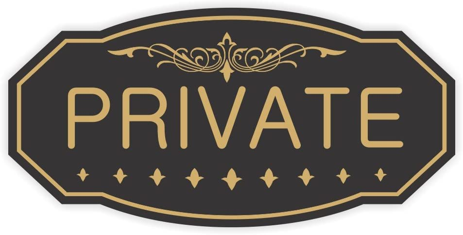 """Private Door/Wall Sign (Black/Gold) - Small 3"""" x 6"""""""