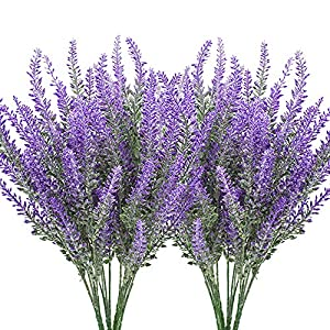 Hukidoy Artificial Lavender Plant with Silk Flowers for Wedding Decor and Table Centerpieces – 8 Piece Bundle