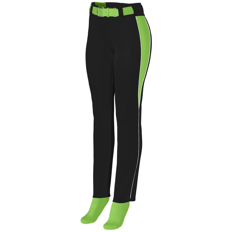 Augusta Sportswearレディースソフトボール外野パンツ B00P53WRNA xx-large|Black/Lime/White Black/Lime/White xx-large