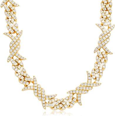 "Miami Cuban Diamond Prong Link Hip Hop Flashy Iced 14K Yellow Plated 8/"" Bracelet"