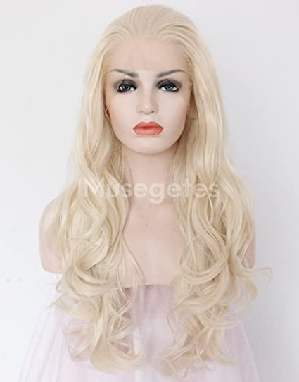 musegetes Rubio blanco cuerpo Wave peluca Lace Front sintético resistente al calor para las mujeres