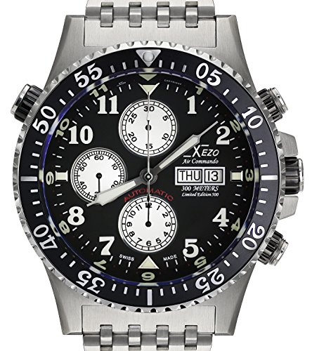 Xezo Men's Air Commando Diver, Pilot Swiss Automatic Valjoux 7750 Chronograph Wrist Watch. 2nd Time Zone. All Solid Steel. Diamond-cut Numbers. Waterproof 30 Bars (7750 Swiss)