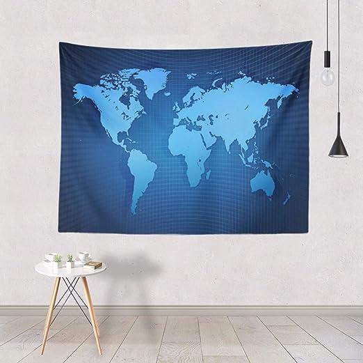 lbonb Mandala Colorido Mapa del Mundo Tapiz Tapiz Negro ...