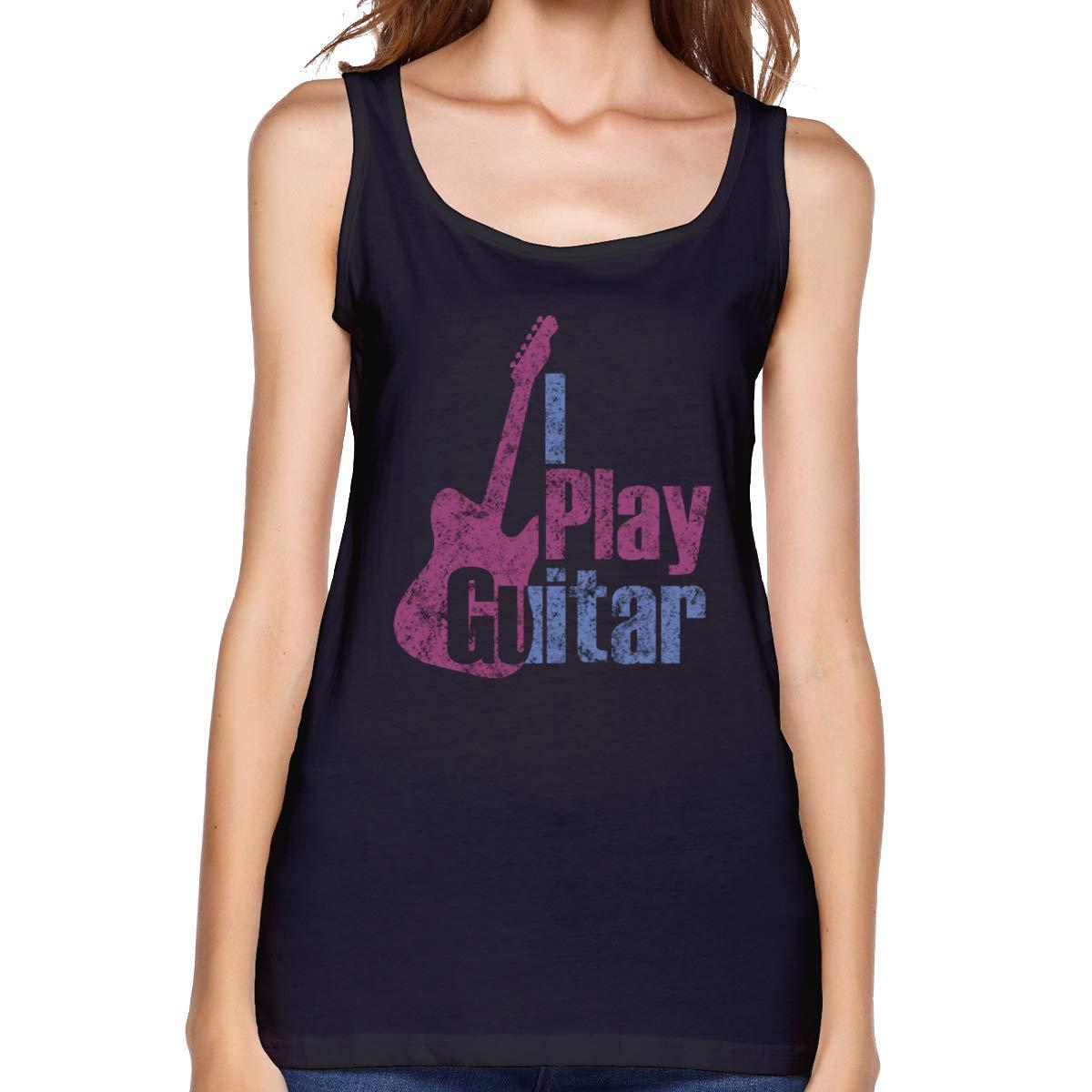 I Play Guitar Womens Basic Tank Tops Sleeveless Graphic Print Shirt Tee