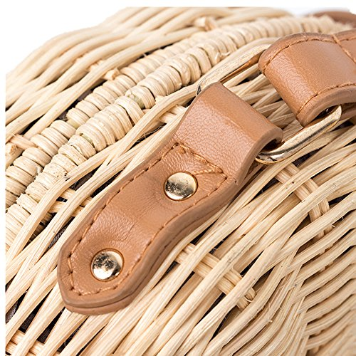 Shoulder Cross Bag Summer Pocket Summer Hand Rattan woven Beach Straw Beach Purse Weave And Round body Handbags Women Bag for Outdoor Iq58Y