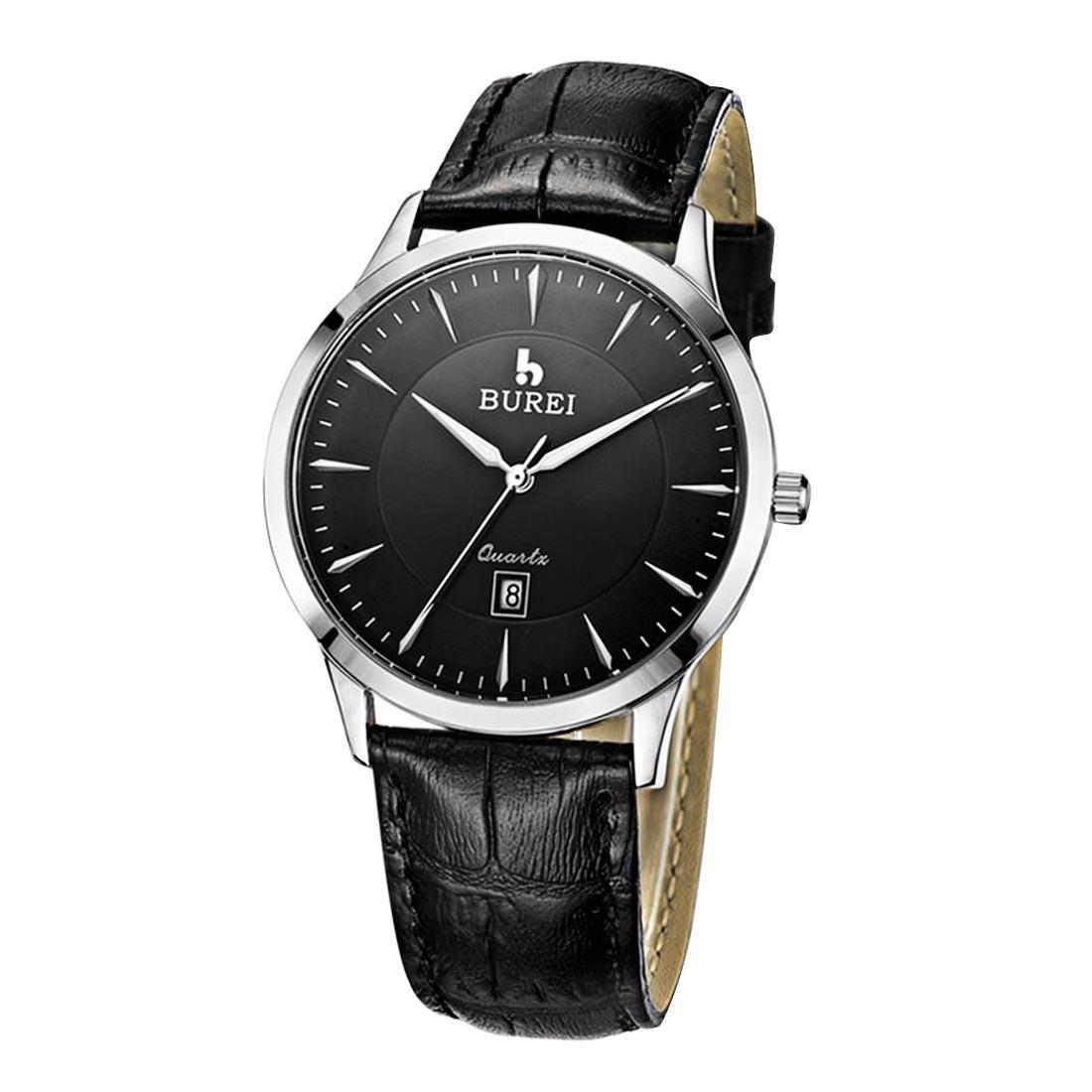 SchÖne Uhren - BUREI 700105 Multifunktionale 3ATM wasserdichte Quarz-Geliebt-Armbanduhr mit echtem Leder-Band u. Saphir-