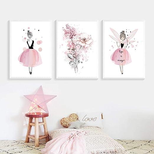 Lot de 3 Affiches Décoration Chambre Fille Princesse Rose Fleur Tableaux  Murales Posters Enfants Peinture sur Toile Cadeaux NPTWC003-L