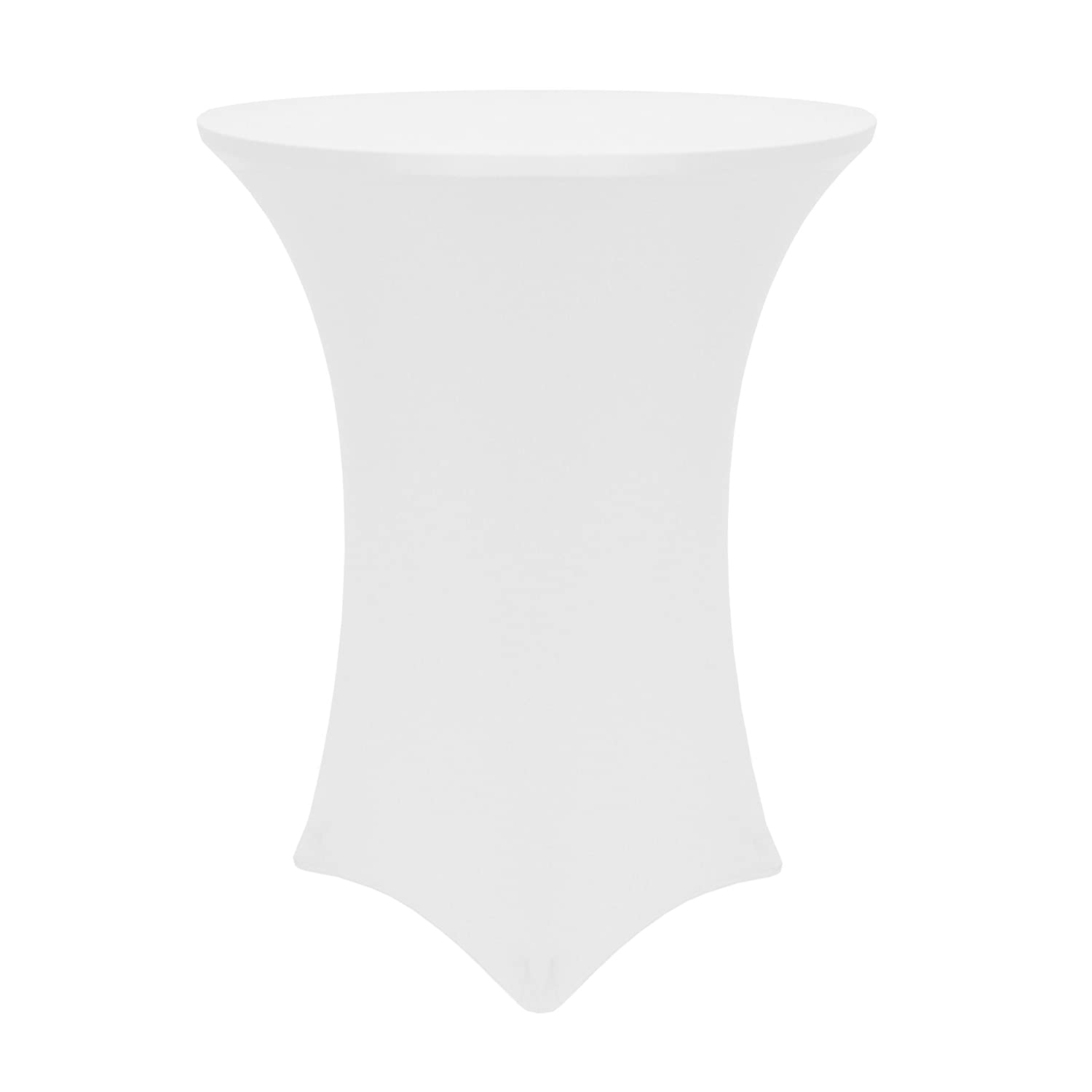 """Ultimate Textile -55 Pack- 24-Inch Round Cocktail Spandex Fitted Stretch Elastic Tablecloth - Fits 42"""" High Tables, White"""