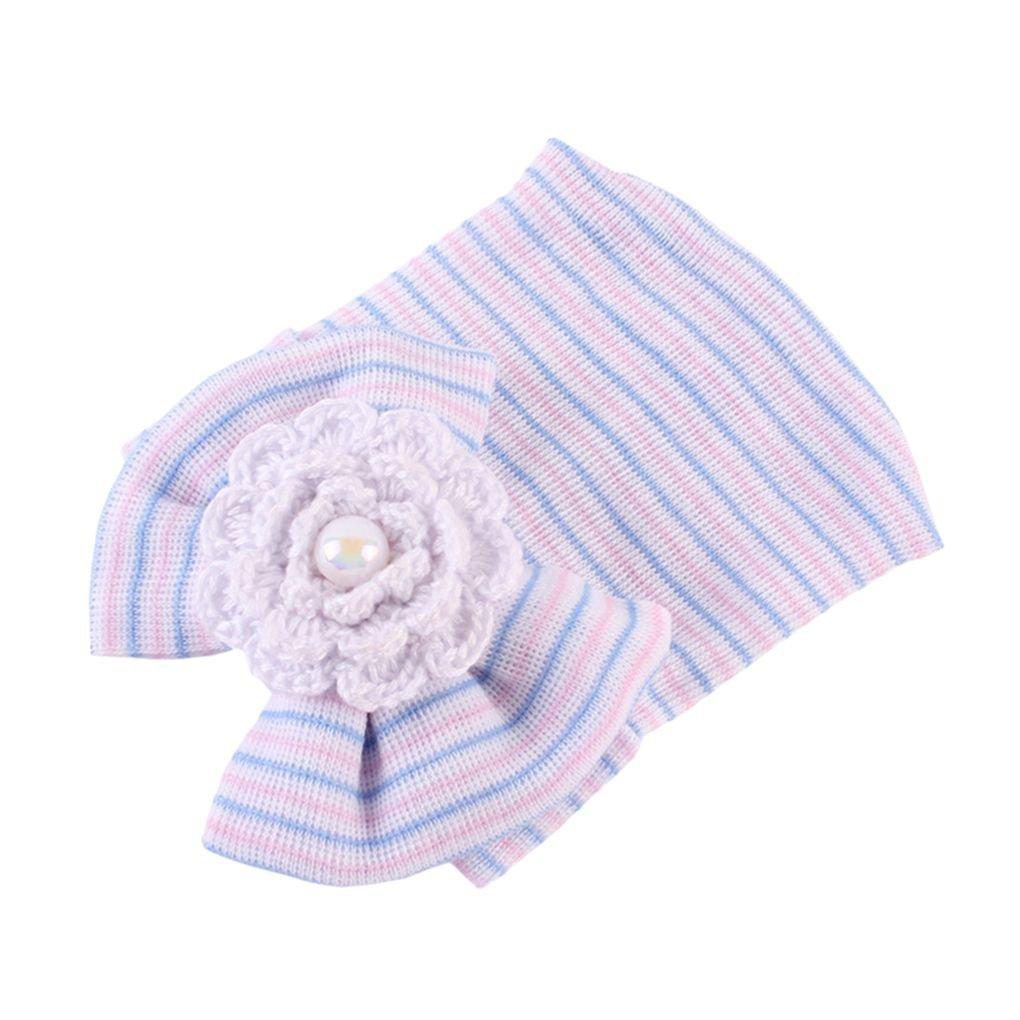 Mengonee Newborn dei ragazzi delle neonate di Bowknot cappello caldo Infant cotone lavorato a maglia inverno del cappello Beanie Striped Cap